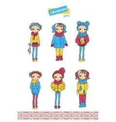 Set of teenage Ukrainian girls vector image