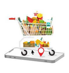 shopping cart with cellphone e-shop application vector image vector image