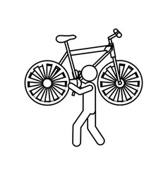 Silhouette worker holding up bicycle vector