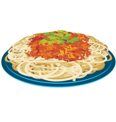Spaghetti in a plate vector image vector image