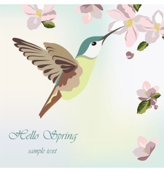 Spring blossom flowers and hummingbird vector