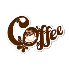 text logo with a cup of coffee vector image