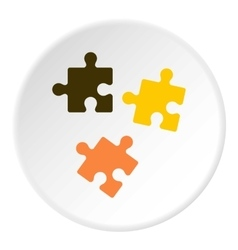 Three puzzle icon flat style vector image