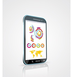 Touch screen smartphone with modern infographic vector