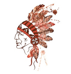 Watercolor Native American Indian chief vector image