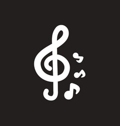 white icon on black background music note vector image
