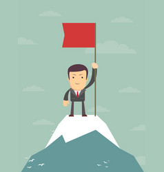 young man standing on top of mountain with flag vector image vector image