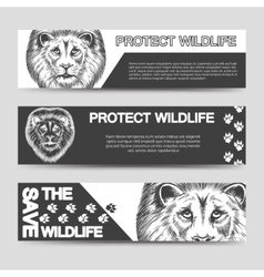 Protect nature banners with lion vector image