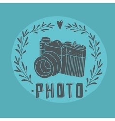Vintage label with photo camera vector