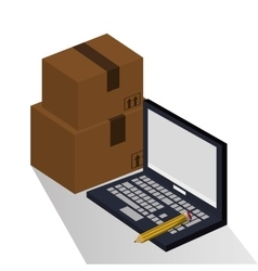 Package and laptop of delivery design vector