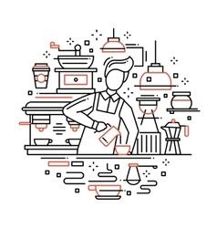 Male barista making coffee - line design vector image