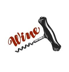 Wine logo corkscrew winery icon or symbol vector