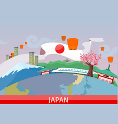 Japanese tourist attractions flat concept vector