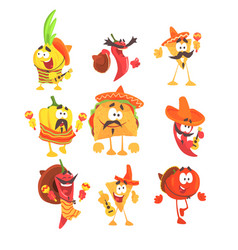 Mexican food and vegetables set of cool cartoon vector