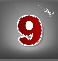 number 9 sign design template element  red vector image