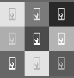 Phone icon with settings  grayscale vector