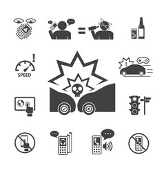 Do not use your phone while driving icons set for vector