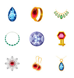 Rich jewelry icons set cartoon style vector