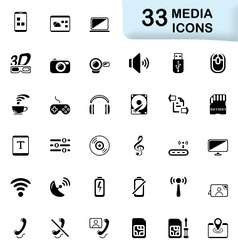 33 black media icons vector image