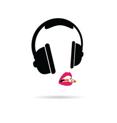 Headphone and lips color vector
