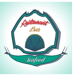 Vintage seafood label restaurant menu vector