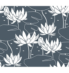 Vintage water lily seamless pattern Classic vector image