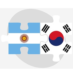 Argentina and south korea flags in puzzle vector
