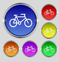 Bike icon sign round symbol on bright colourful vector