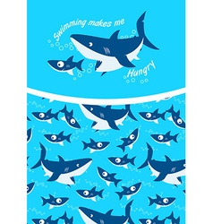 Swimming makes me hungry repeat pattern background vector