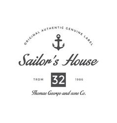 Vintage logo sailor house company vector