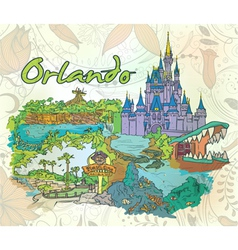 Orlando doodles with floral vector