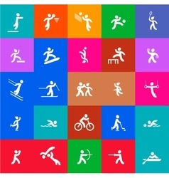 Sports icons set white and color vector