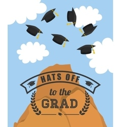 Graduation cap and mountain icon university vector