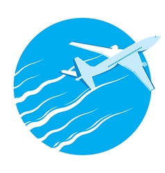 Airplane passenger plane in blue sky vector