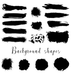 Black ink borders brush strokes stains banners vector