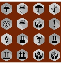 cargo protection icons silhouette vector image