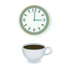 Coffee cup and clock vector image vector image