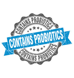 Contains probiotics stamp sign seal vector