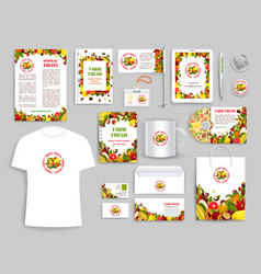 Corporate identity items for fruit company vector