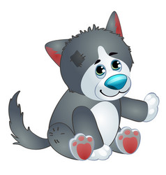 Cute wolf - old childrens stuffed toy with patch vector