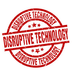 Disruptive technology round red grunge stamp vector