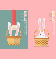 Easter bunny in basket postcard vector
