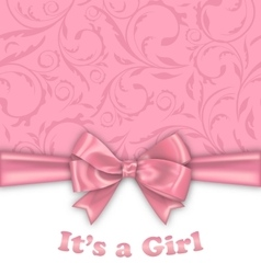 Girl baby shower invitation card with pink bow vector