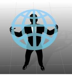 global business man silhouette vector image vector image