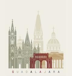guadalajara mx skyline poster vector image