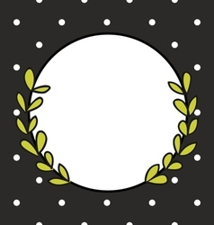 Hand drawn photo frame with laurel wreath and dots vector