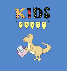 Kids party lettering party with baby dino vector