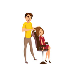 male hairdresser making hairstyle to young woman vector image