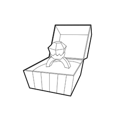 Open box with ring icon outline style vector image