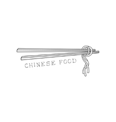 Pair of sticks with noodles on chinese food and vector